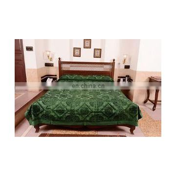 Indian Handmade Home Furnishing Royal Old mirror Bed cover Embroidery Mirror Work BedSheet Double Bedspreads Decor King Size