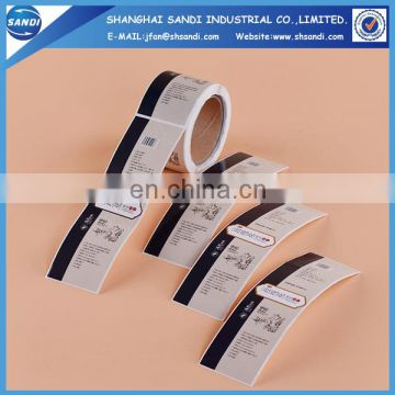 adhesive paper roll label stickers with printing