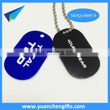 Anodized aluminum military dog tags with laser engraved logo