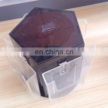Clear black rotating PMMA brochure holder plexiglass document display rack acrylic document display