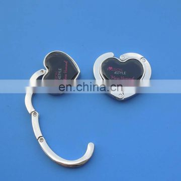 metal bag hanger heart shape and gift velvet pouch