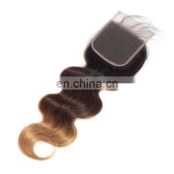 Three tone Ombre T1b/4/27 lace closure 4x4 human hair closure with baby hair silk base best selling