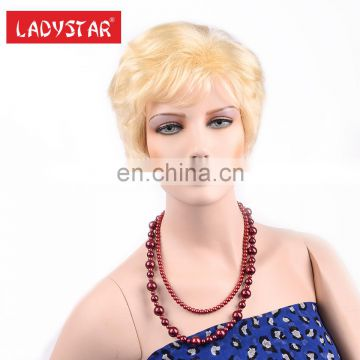 fashion hair styling machine made synthetic sunburst blonde hair wig