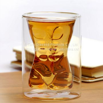 New Wholesale Strong Muscle Man Body Shaped Double Wall Shot Drinking Glass Wine Whiskey Beer Cup Bar Cup