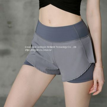 Fake two pieces of built-in invisible pocket fitness shorts female elastic soft and quick-drying sports high waist yoga pants