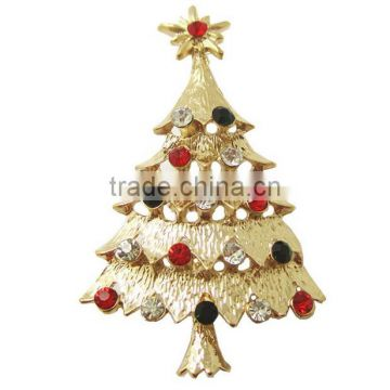 High end golden metal crystal Christmas tree brooch custom own style Christmas tree brooch for Christmas gifts 2016