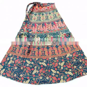 Indian Traditional Cotton maxi skirt wrap on sarong peasant boho Cotton Designer Printed Animals Wraparound Women Skirts