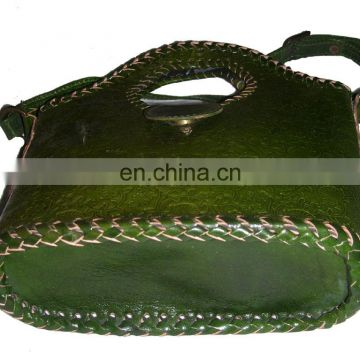 SMALL ROUND HANDLE LEATHER BAG