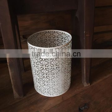 High quality white color home hotel decorative 13 gallon metal trash can