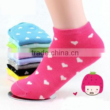 solid color love heart pattern cotton women ankle socks
