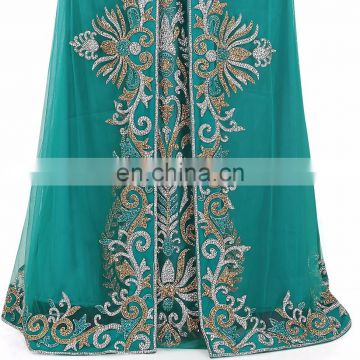 Luxury Golden And Silver Embroidery Beaded Moroccan Takchita Party Wear
