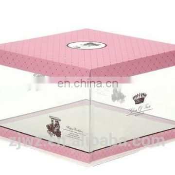 2015 transprent pvc cake box with paper cap