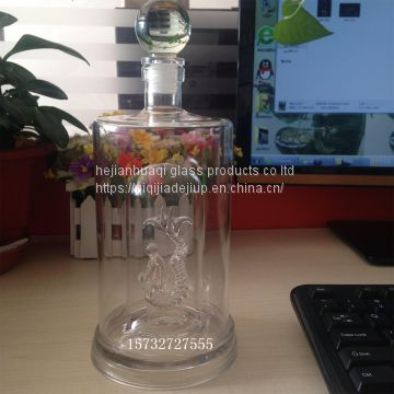 Manufacturing Plant Art Wine Glass Bottle 600ml