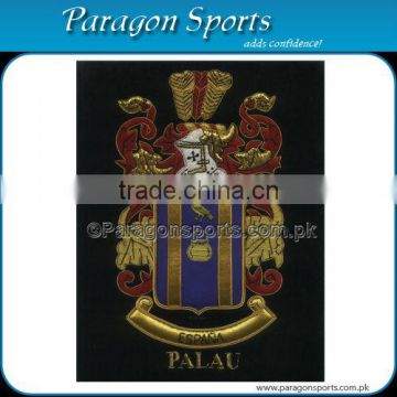 Bullion Wire & Silk Thread Hand Embroidered Family Crest Palau Badge Emblem