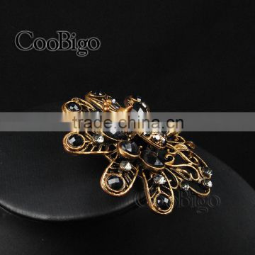 Popular Jewelry Flower Pin Brooch Crazing Arcylic Stone Rhinestone Women Dresses Hijab Scarf Party Gift Apparel Accessories