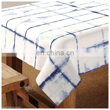 Shibori Indigo Blue Table Cloth , 60x90'' Size Cotton Table Cover tye dye Throw