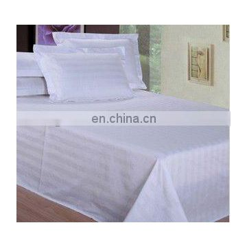 white 3cm stripe 100%cotton fabric hotel bed sheet