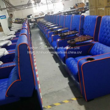 High end commercial vip cinema seating,theme hall movie theater sofa with tray