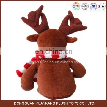 custom christmas reindeer stuffed plush toy with red scarf