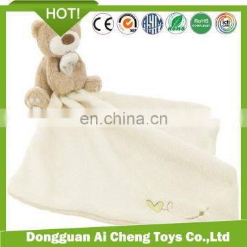 Lovely plush animal doudou blanket for baby animal head plush baby blanket