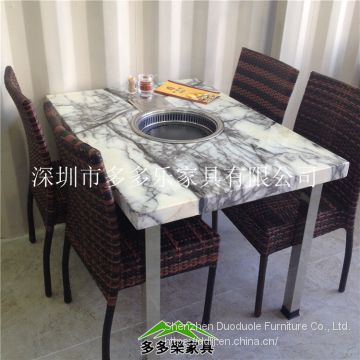 Marble barbecue table and chair furniture can be grilled