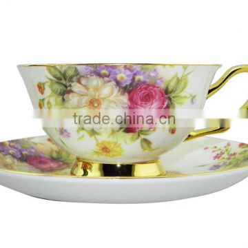High Quality 200ml Bone China European Style Flower Pattern Coffee Mug with Saucer Set for Valentines Gift