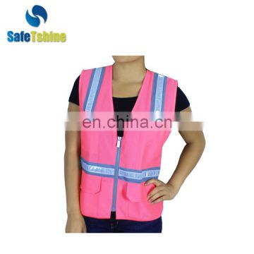 High visibility women pink custom safety vest