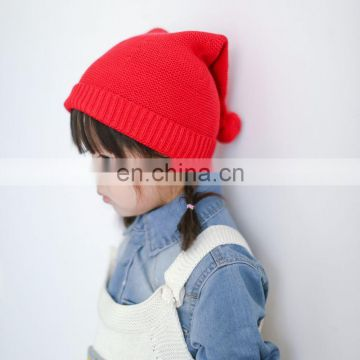China Supplier Christmas baby red Knitted Kids cute Caps with Fur Pompoms Hats