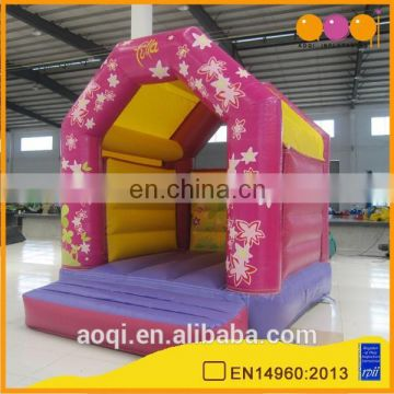AOQI commercial use pink inflatable bouncer for girl with free EN14960 certificate