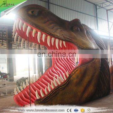KAWAH Attractive Giant Artificial T-Rex Dinosaur Head Entrance for Dinosaur Park Gate