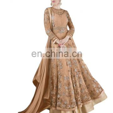 2017 Wedding Engagement Wear Anarkali Net Gown ( Heavy Embroidery Work Semi-Stitched Dress Material )