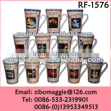 2015 Hot Sale Zodiac Print Promotional Soup Mug Milk Mug Ceramic for Tableware