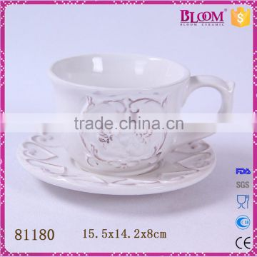Simple design ceramic white coffee cup and saucer
