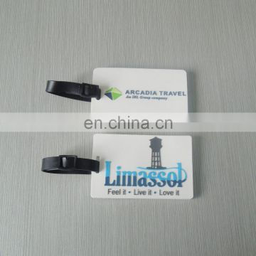 white background embossed logo Soft pvc luggage tags with luggage shaped customized