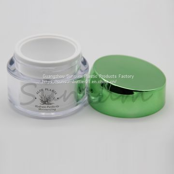 China 50g Clear Plastic Cosmetic Double Wall Cream Jar Suppliers