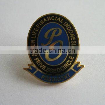 Hard enamel brass pin badge