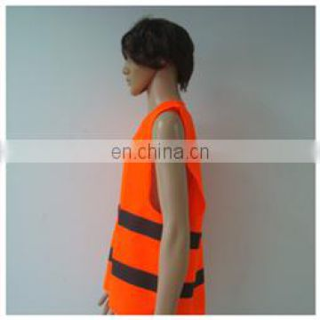 Fluorescent orange High Visibility Safety Warning Reflective Sleeveless Jacket