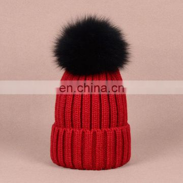 Different colors knit pom pom hats for girls with black fur pompom