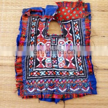 Kutchi Fabric Mirror work Patches- Vintage Indian Fabric handCraft Yock Neck Patches