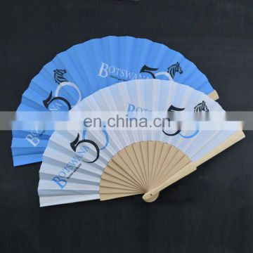 Hand held fabric custom advertising folding wooden fan