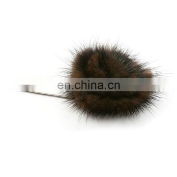 Hand made real mink fur brooch wholesale for lady decoration fur accessory