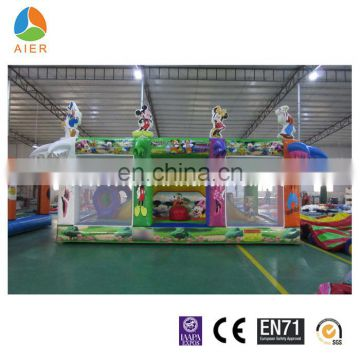 2016 mickey themed kids favourite Inflatable fun city for sale/inflatable jumping slide playground