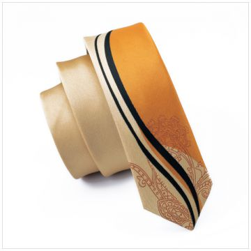 Double-brushed Shirt Collar Accessories Silk Woven Neckties Striped Gold