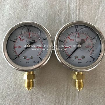 SS Case Bourdon Tube Pressure Gauge for Hydraulic System