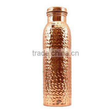 copper hammered water bottle