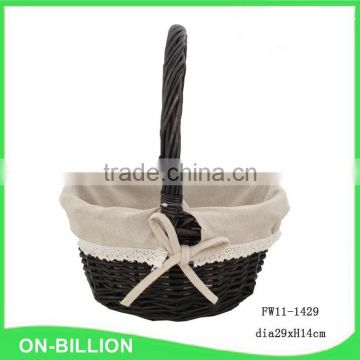 Handled fancy black small wicker gift basket with liner