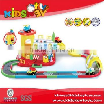 Good quality plastic cartoon electric toy race track battery operated toy train