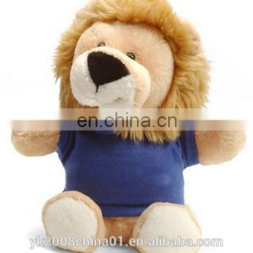 Custom toy bulk sitting stuffed forest animal lion king plush toys with t-shirt