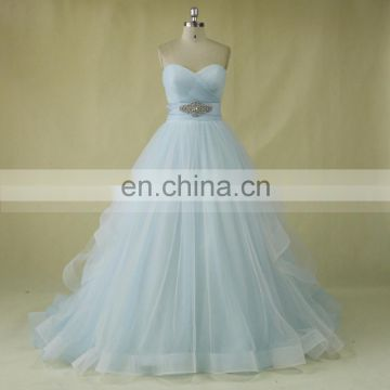 Backless Tulle Light Blue And White Wedding Dress