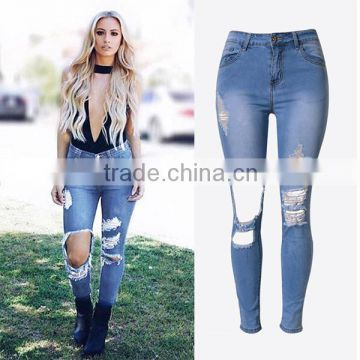 2016 Summer Fashion Women Pencil Fit Vogue Jean Pants Ladies Broken Holes Baggy High Waist Skinny Distressed Jeans